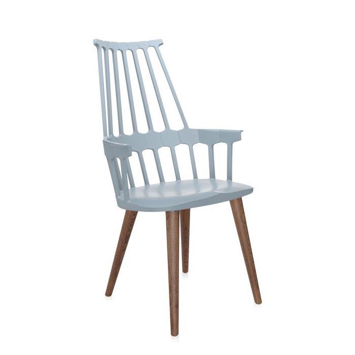 fauteuil comback kartell design blanc et bois