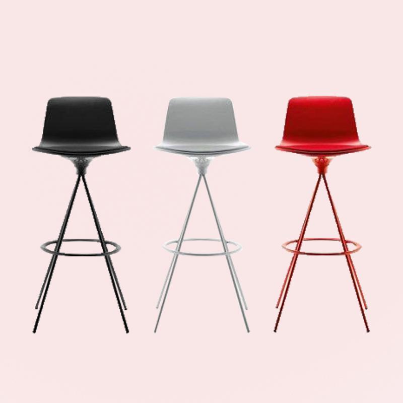 chaise haute de bar enea blanc rouge noir